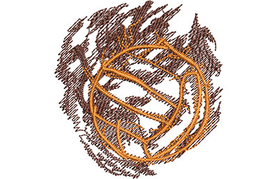 Embroidery Design: Volleyball Smoke Glow Sm 2.85w X 3.01h