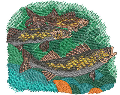 Embroidery Design: Saugers Swimming Lg 5.99w X 5.03h
