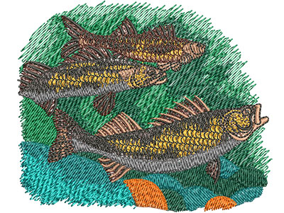 Embroidery Design: Saugers Swimming Sm 3.99w X 3.33h