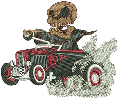 Embroidery Design: Reaper Hot Rod Lg 4.52w X 3.76h