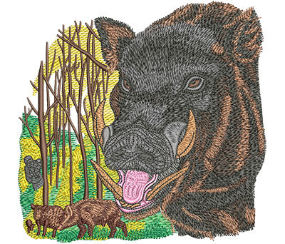 Embroidery Design: Boar Hunt Lg 6.02w X 5.85h