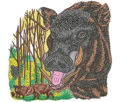 Embroidery Design: Boar Hunt Med 5.02w X 4.87h