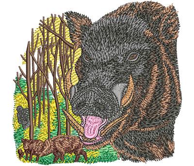 Embroidery Design: Boar Hunt Sm 4.02w X 3.90h