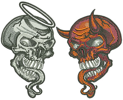 Embroidery Design: Good Skull and Evil Skull Lg 6.05w X 4.86h