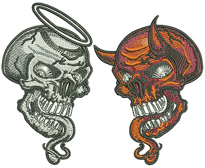 Embroidery Design: Good Skull and Evil Skull Med 5.05w X 4.05h