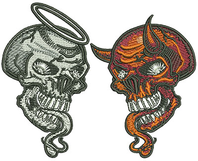 Embroidery Design: Good Skull and Evil Skull Sm 4.05w X 3.25h