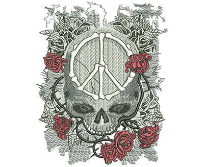 Embroidery Design: Peace Skull Lg 4.81w X 5.96h