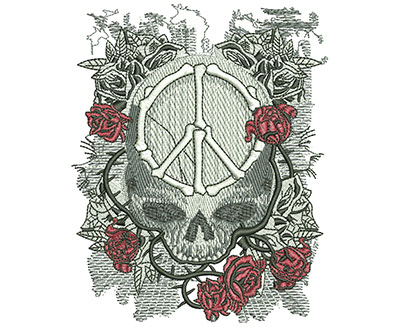 Embroidery Design: Peace Skull Med 4.00w X 4.97h