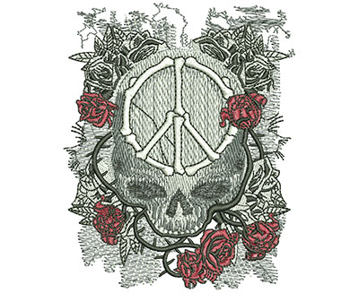 Embroidery Design: Peace Skull Sm 3.20w X 3.98h