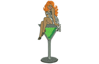Embroidery Design: Pin Up Martini Lg 1.66w X 4.48h