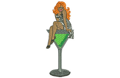 Embroidery Design: Pin Up Martini Med 1.47w X 3.98h