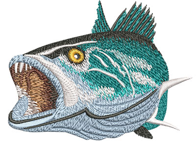 Embroidery Design: Speckled Trout Open Mouth Lg 4.00w X 3.04h