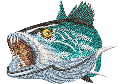 Embroidery Design: Speckled Trout Open Mouth Med 3.50w X 2.65h