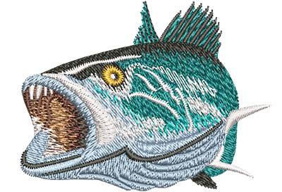 Embroidery Design: Speckled Trout Open Mouth Sm 3.00w X 2.27h