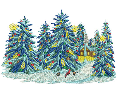 Embroidery Design: Christmas Snow Trees Lg 6.00w X 3.89h