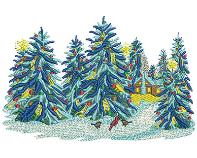 Embroidery Design: Christmas Snow Trees Med 5.00w X 3.24h