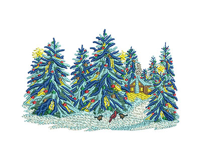 Embroidery Design: Christmas Snow Trees Sm 3.99w X 2.59h