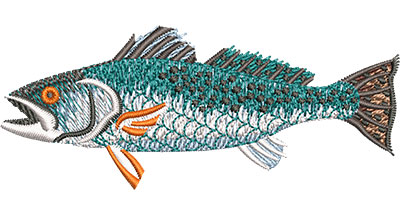 Embroidery Design: Speckled Trout Profile Sm 3.51w X 1.43h