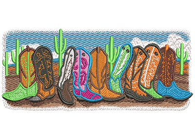 Embroidery Design: Boots Are Made For Walking Lg 5.99w X 2.41h