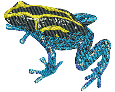 Embroidery Design: Yellow And Blue Frog Lg 3.52w X 2.97h