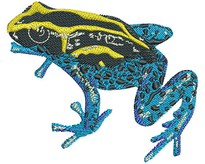 Embroidery Design: Yellow And Blue Frog Med 3.01w X 2.55h