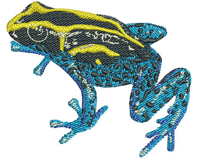 Embroidery Design: Yellow And Blue Frog Sm 2.52w X 2.12h