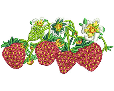 Embroidery Design: Strawberry Batch Lg 3.45w X 1.76h