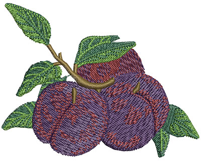 Embroidery Design: Batch of Plums Sm 3.02w X 2.36h