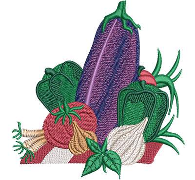 Embroidery Design: Vegetable Layout Lg 4.34w X 4.52h
