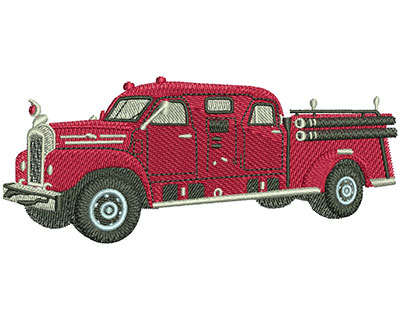 Embroidery Design: Vintage Fire Truck Lg 4.46w X 1.89h
