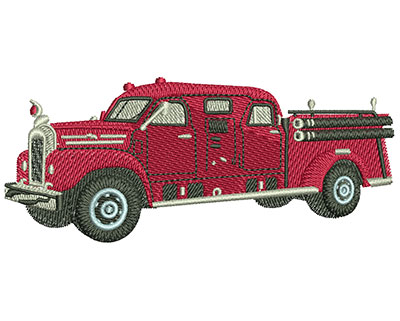 Embroidery Design: Vintage Fire Truck Med 3.96w X 1.68h