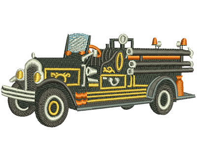 Embroidery Design: Vintage Fire Truck Black Lg 4.50w X 2.17h