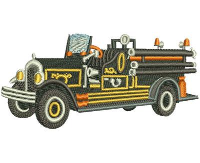 Embroidery Design: Vintage Fire Truck Black Med 4.00w X 1.93h