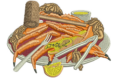 Embroidery Design: King Crab Buffet Med 4.01w X 3.03h