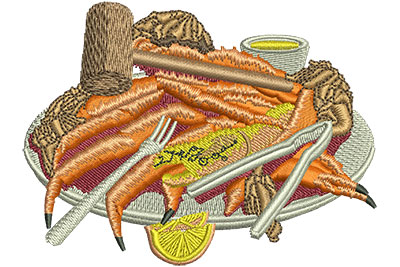 Embroidery Design: King Crab Buffet Sm 3.51w X 2.65h