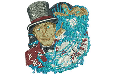 Embroidery Design: Vegas Magician Lg 3.92w X 4.35h