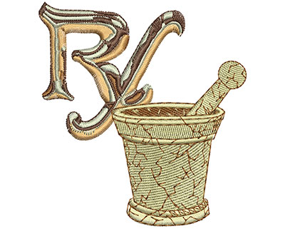 Embroidery Design: RX and Bowl Lg 3.29w X 3.55h