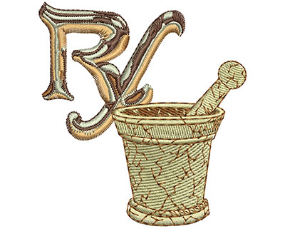 Embroidery Design: RX and Bowl Med 2.82w X 3.05h