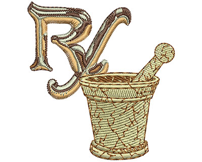 Embroidery Design: RX and Bowl Sm 2.36w X 2.56h