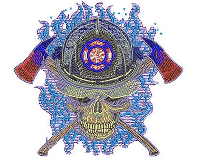 Embroidery Design: Purple Fire Skull Lg 5.52w X 5.03h