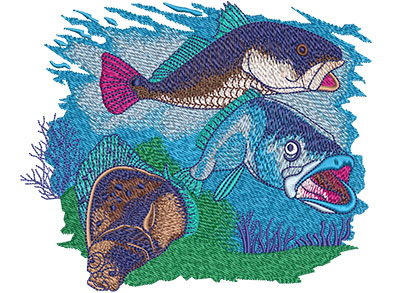 Embroidery Design: Red Speck Flounder Lg 6.03w X 4.99h