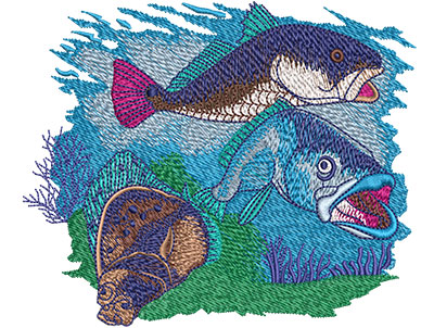Embroidery Design: Red Speck Flounder Med 5.05w X 4.17h