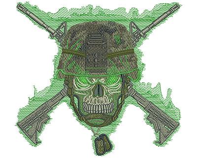 Embroidery Design: Skull Army Helmet Med 7.07w X 6.52h