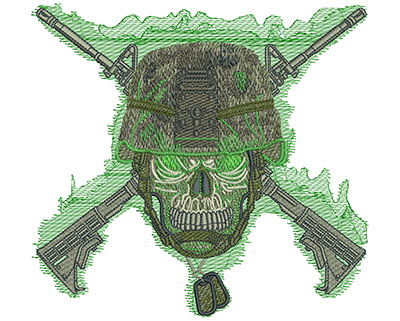 Embroidery Design: Skull Army Helmet Sm 6.02w X 5.58h