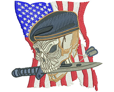 Embroidery Design: Skull Beret Lg 5.56w X 5.49h