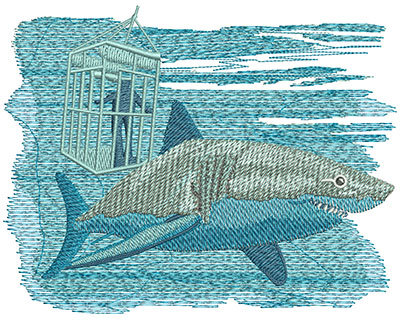 Embroidery Design: Shark Cage Lg 5.94w X 4.64h