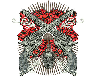 Embroidery Design: Six Shooters Med 4.27w X 4.50h