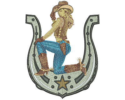 Embroidery Design: Cowgirl Horseshoe Lg 5.52w X 5.03h