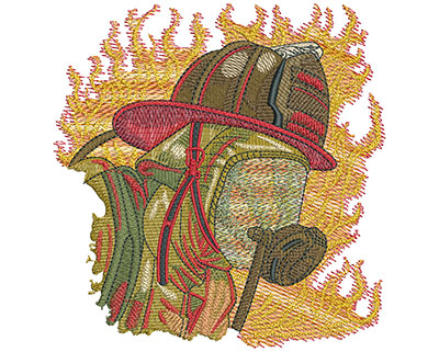 Embroidery Design: Fire Fighter Skull And Mask Lg 5.30w X 5.51h