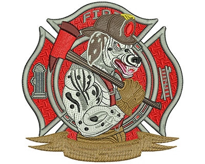 Embroidery Design: Fire Fighter Dalmation lg5.52 in x 5..52 in